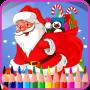 icon Xmax coloring santa reindeers (Xmax kleurende kerst rendieren)